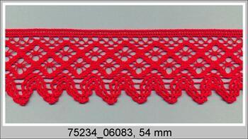 Paličkovaná krajka 75234 bavlněná, šířka54 mm, červená