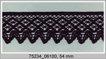 Paličkovaná krajka 75234 bavlněná, šířka54 mm, černá