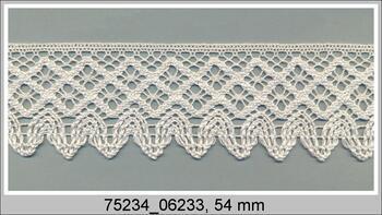 Cotton bobbin lace 75234, width 54 mm, ivory