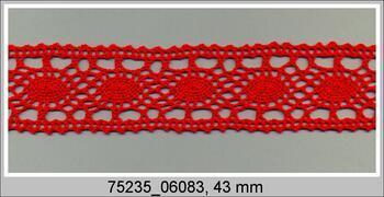 Paličkovaná vsadka 75235 bavlněná, šířka43 mm, červená