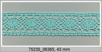 Cotton bobbin lace insert 75235, width43mm, aqua green