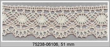 Cotton bobbin lace 75238, width51mm, ecru/light linen gray