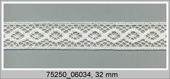 Paličkovaná vsadka 75250 bavlněná, šířka32 mm, sv.krémová