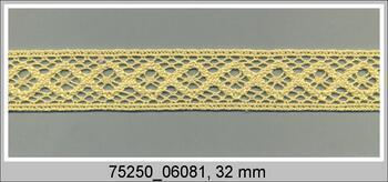 Cotton bobbin lace insert 75250, width31mm, light yellow