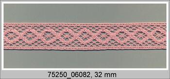 Paličkovaná vsadka 75250 bavlněná, šířka32 mm, růžová
