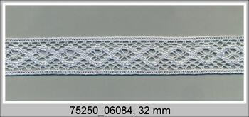 Cotton bobbin lace insert 75250, width31mm, pale blue