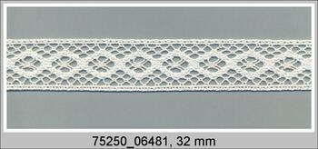 Paličkovaná vsadka 75250 bavlněná, šířka32 mm, slonová kost