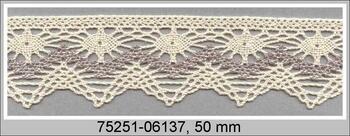 Paličkovaná krajka 75251 bavlněná, šířka50 mm, režná/tm.lněná