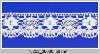 Cotton bobbin lace 75253, width 50 mm, white mercerized