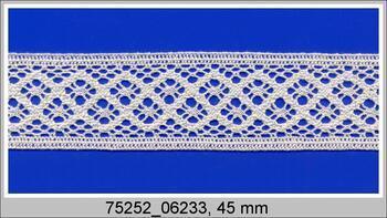 Cotton bobbin lace insert 75254, width48mm, ivory