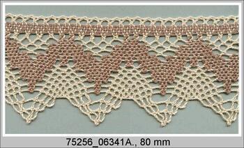 Cotton bobbin lace 75256, width80mm, beige/dark beige