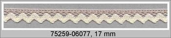Paličkovaná krajka 75259 bavlněná, šířka17 mm, sv.lněná/režná