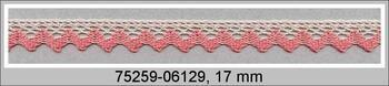 Paličkovaná krajka 75259 bavlněná, šířka17 mm, sv.lněná/starorůžová