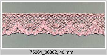 Paličkovaná krajka 75261 bavlněná, šířka40 mm, růžová