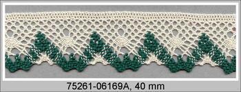 Paličkovaná krajka 75261 bavlněná, šířka40 mm, režná/zelená