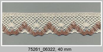 Paličkovaná krajka 75261 bavlněná, šířka40 mm, režná/tm.béžová