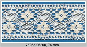 Cotton bobbin lace insert 75263, width74mm, ecru