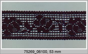 Cotton bobbin lace insert 75269, width53mm, black