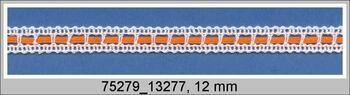 Paličkovaná vsadka 75279 bavlněná, šířka13 mm, bílá merc./oranž. stuha