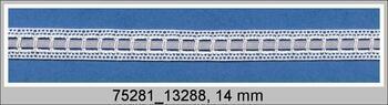 Paličkovaná vsadka 75281 bavlněná, šířka14 mm, bílá/šedá stuha