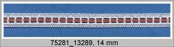 Cotton bobbin lace insert 75281, width14mm, white/brown ribbon