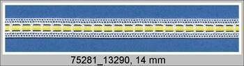 Paličkovaná vsadka 75281 bavlněná, šířka14 mm, bílá/žlutá stuha