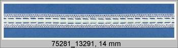 Cotton bobbin lace insert 75281, width14mm, white/green ribbon
