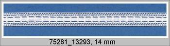 Paličkovaná vsadka 75281 bavlněná, šířka14 mm, bílá/bílá stuha