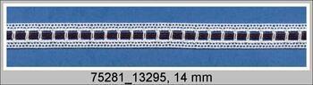 Paličkovaná vsadka 75281 bavlněná, šířka14 mm, bílá/černá stuha