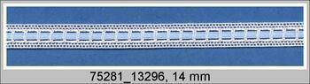 Cotton bobbin lace insert 75281, width14mm, white/blue ribbon