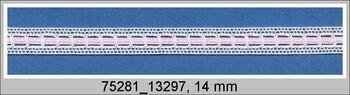 Paličkovaná vsadka 75281 bavlněná, šířka 14 mm, bílá/růžová stuha