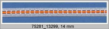 Paličkovaná vsadka 75281 bavlněná, šířka 14 mm, bílá/oranžová stuha