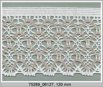 Paličkovaná krajka 75289 bavlněná, šířka120 mm, bílá/tm.lněná