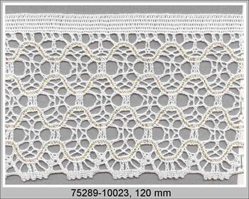 Paličkovaná krajka 75289 bavlněná, šířka120 mm, bílá/Lurex zlatý
