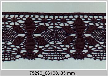 Paličkovaná krajka 75290 bavlněná, šířka85 mm, černá