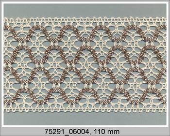 Cotton bobbin lace insert 75291, width30 mm, ecru/light brown