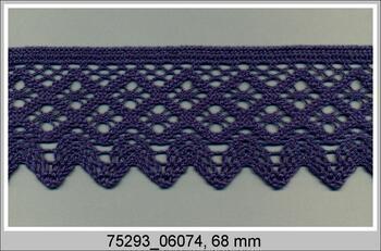 Cotton bobbin lace 75293, width 68 mm, dark blue