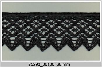 Paličkovaná krajka 75293 bavlněná, šířka68 mm, černá
