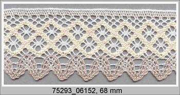 Paličkovaná krajka 75293 bavlněná, šířka68 mm, bílá/režná/sv.lněná
