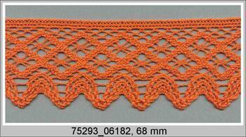 Paličkovaná krajka 75293 bavlněná, šířka68 mm, sytě oranžová - 1