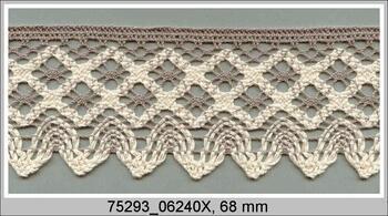 Paličkovaná krajka 75293 bavlněná, šířka68 mm, tm.lněná/režná