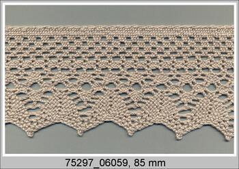 Paličkovaná krajka 75297 bavlněná, šířka85 mm, sv.lněná
