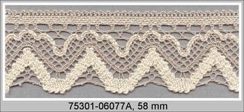 Paličkovaná krajka 75301 bavlněná, šířka58 mm, sv.lněná/režná