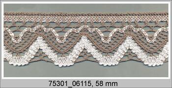 Paličkovaná krajka 75301 bavlněná, šířka 58 mm, tm.něná/bílá