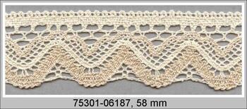 Cotton bobbin lace 75301, width 58 mm, ecru/beige