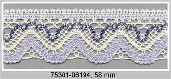 Paličkovaná krajka 75301 bavlněná, šířka 58 mm, sv.smetan./sv.modrá/mořská modrá