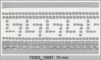 Cotton bobbin lace 75303, width 75 mm, white/Lurex silver