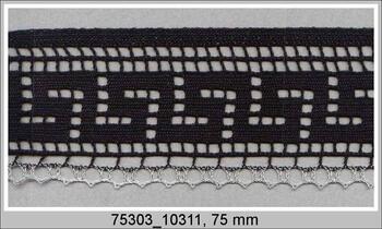 Cotton bobbin lace 75303, width 75 mm, black/Lurex silver