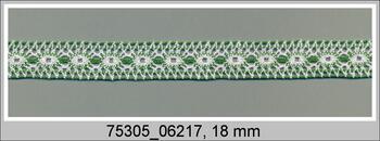 Paličkovaná vsadka 75305 bavlněná, šířka18mm, bílá/trávová zelená