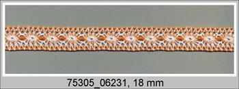 Paličkovaná vsadka 75305 bavlněná, šířka18mm, bílá/sytě oranžová